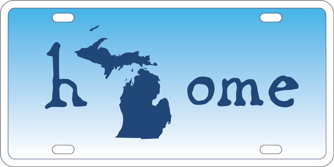"""License plate that says """"home"""" with the outline of the state of michigan as the """"O"""""""