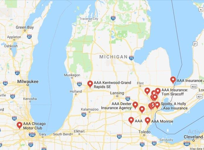 aaa location map