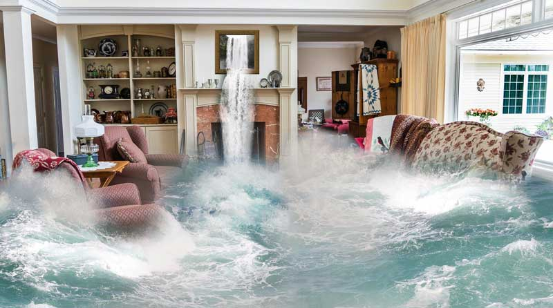 house with flooding with lots of water.